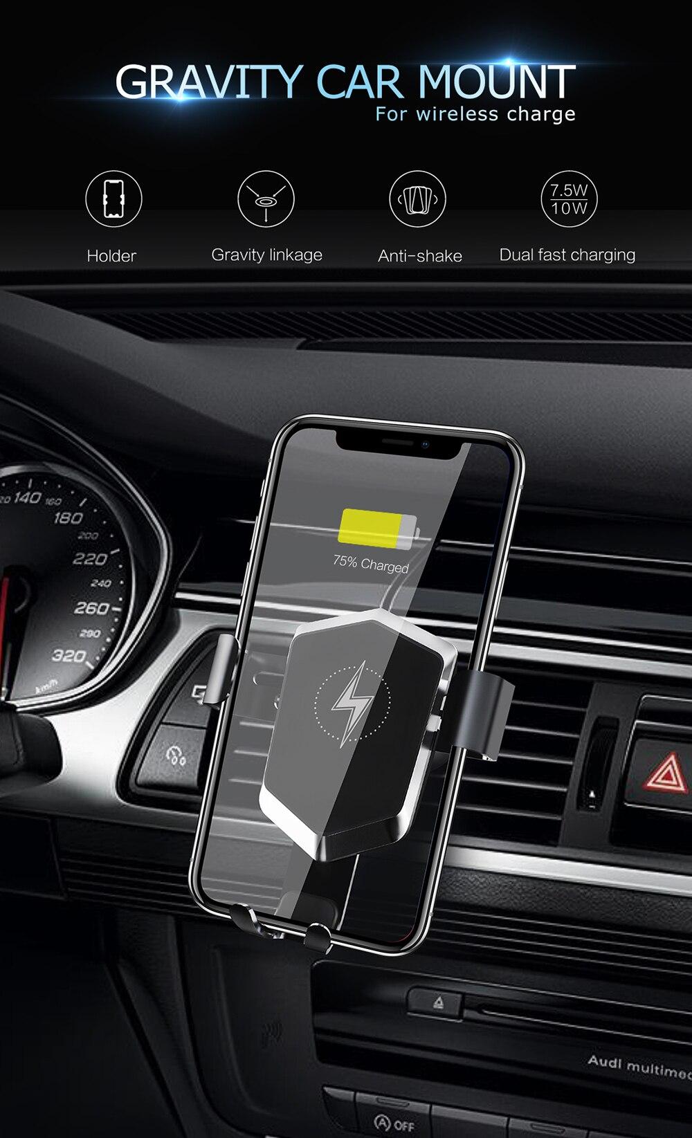 Гибкая тяжести автомобильный держатель телефона быстро зарядного устройства для Iphone XS Max XR 8 samsung Быстрый Qi Беспроводной Зарядное устройство 10 вт автоматического подключения
