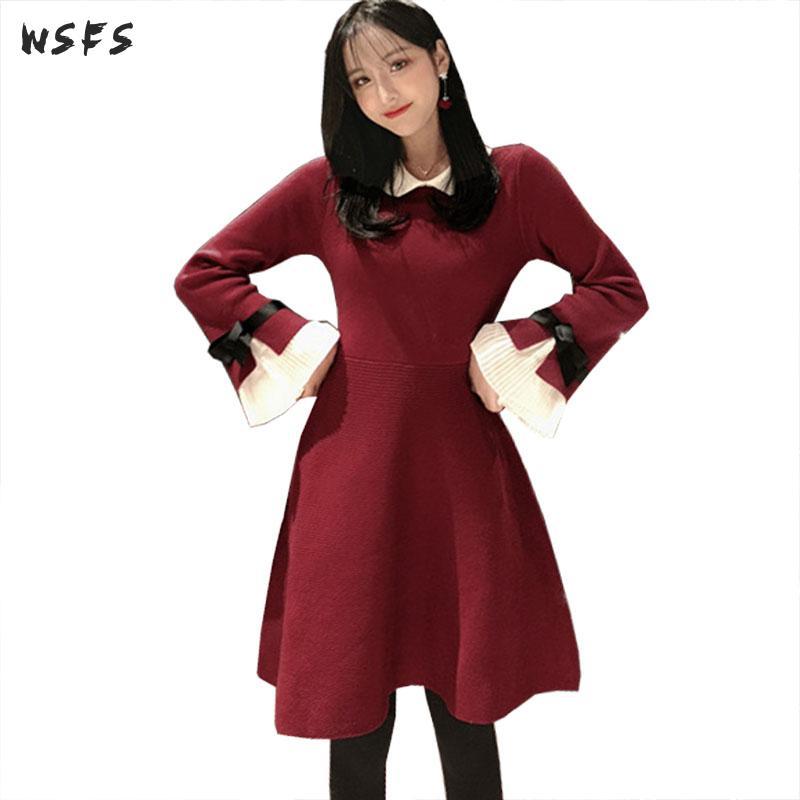 Spring Black Red Dresses Knitting Flare Sleeve Women Dress 2019 Sweater Vintage Elegant Ladies Sexy Party Midi Aline Sundress