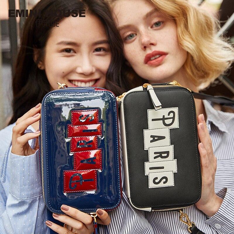 Crossbody-Bags Purses Emini House Handbags Women Leather Flap Patent for Paris Series