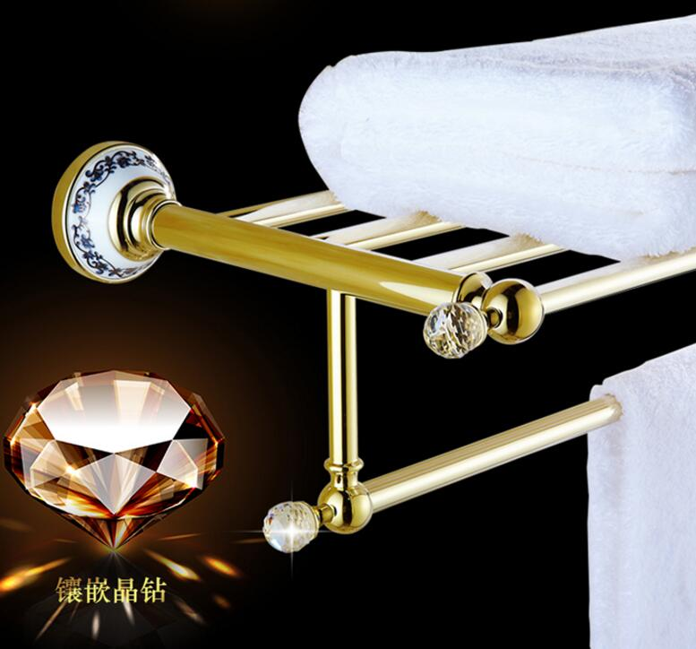 Free Shipping Brass Vintage Style Bathroom Towel Rack Gold Towel Shelf Holder Brass and Crystal Wall-mounted towel holder free shipping wall mounted space aluminum black golden paper towel shelf phone toilet paper holder
