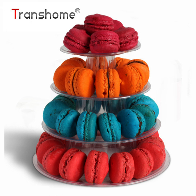 Transhome Macarons Display Tower 4-layer Cupcake Stand Food Display Stand Cake Stand Wedding Decoration Birthday Party Favor