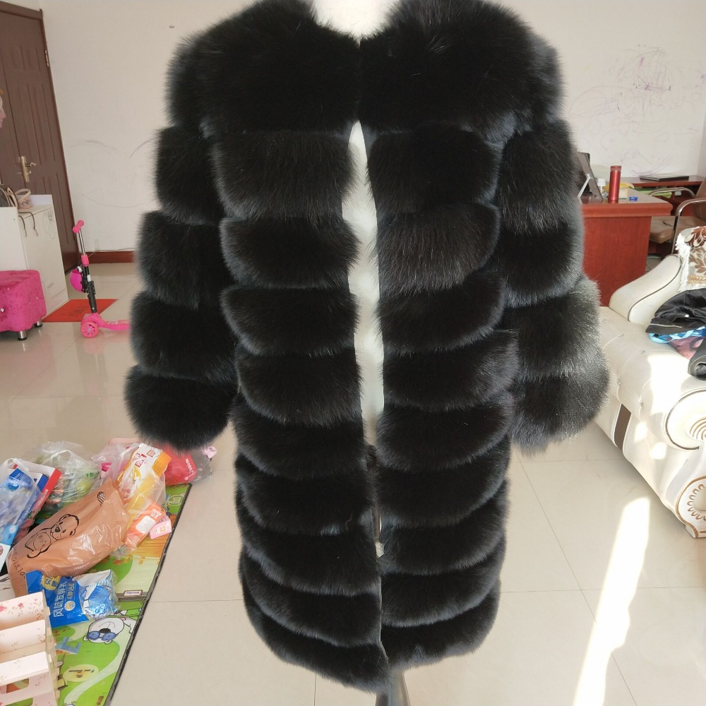 Black fox fur coat winter warm clothes fashion style real natural fox fur coat