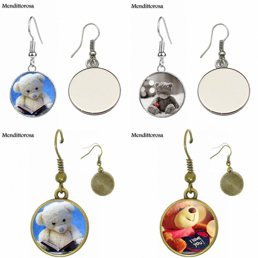 Cute Teddy Bear For Wedding Glass Bronze/Silver/Golden Clip Ear Hook Drop Earringss