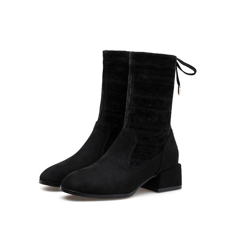 2018 Avec Section Chaussettes Femme 0121 Tube Hiver Noir Ljj Nouveau Bottes Pour Extensibles Daim Tricotées Bottines Commerce Épais En MSzqUVp