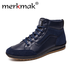 New 2018 Men Drop Shipping Leather Boots Fashion Autumn Spring Warm Cotton Brand Ankle Boots Lace Up Martin Boot Trending Shoes