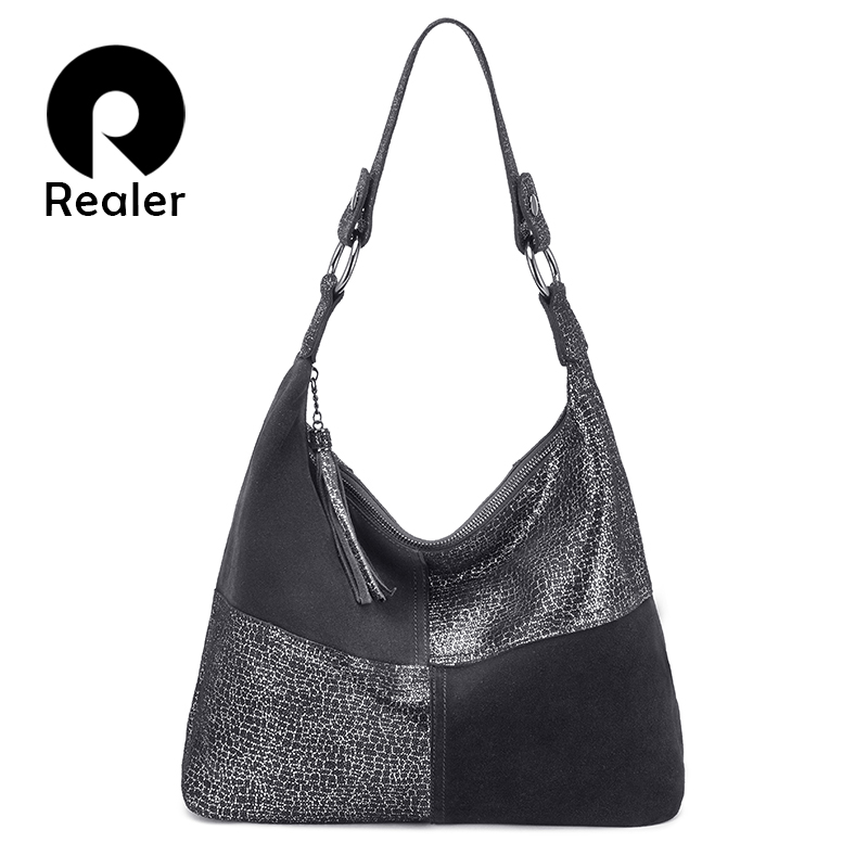 REALER genuine leather women bag fashion shoulder bag large capacity handbags tote bag hobo ladies high