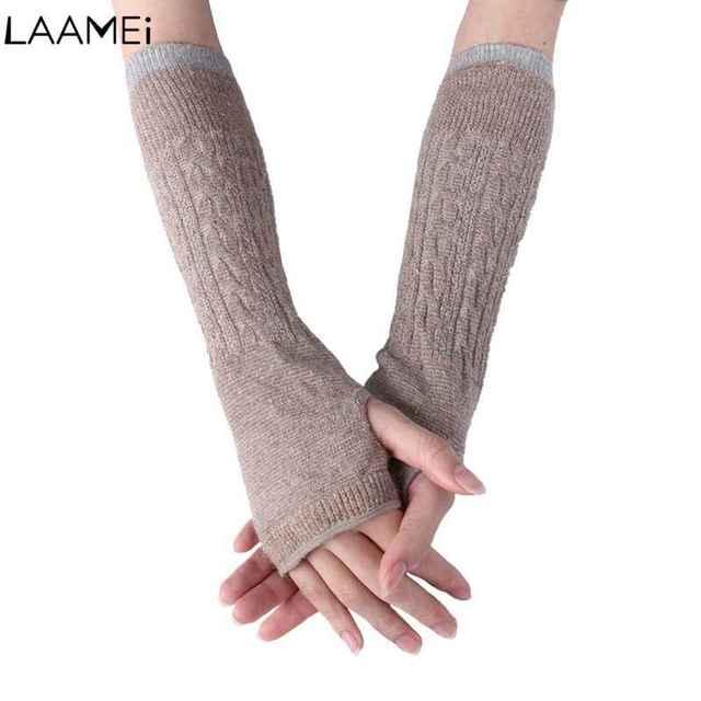 Laamei mujeres Invierno guantes de lana manguito Invierno guantes ...