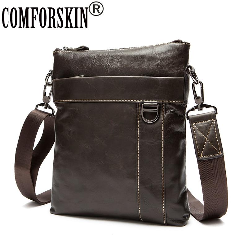 COMFORSKIN Guaranteed 100 Genuine Leather Men Messenger Bags Brand Designer Men s Leather Bag Bolsa Masculina
