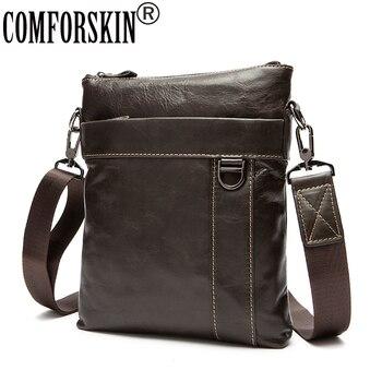 COMFORSKIN Guaranteed 100% Genuine Leather Men Messenger Bags Brand Designer Mens Bag Bolsa Masculina New Arrivals 2020