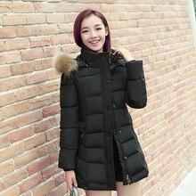 2016 зимние парки новый женщин хлопка-ватник Корейской версии длинный жакет был тонкий большой размер мех воротник пальто 7886