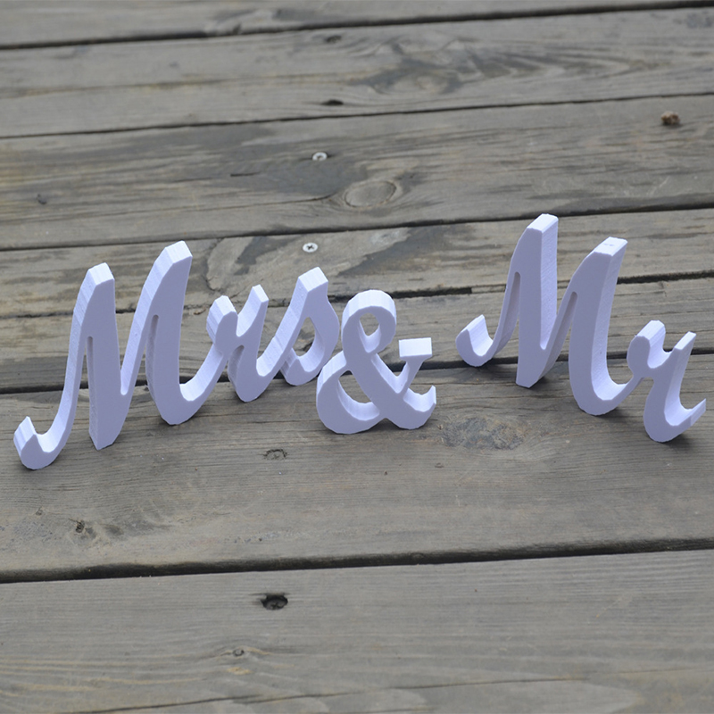 MR&MRS Wedding Decoration Party Props White Wooden Letters Sign Mariage Room Table Desk Bedroom Home Decor Valentines Day Gifts
