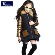 2017 winter hot Korean girls 4-15 years old children Cotton Hooded metallic sleeve pocket all-match thick cotton wool collar