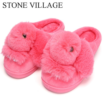 High Quality Women Slippers Lovely Rabbit Animal Prints Solid Flat Indoor Shoes Winter Plush Warm Home Slippers Size 36-43 2