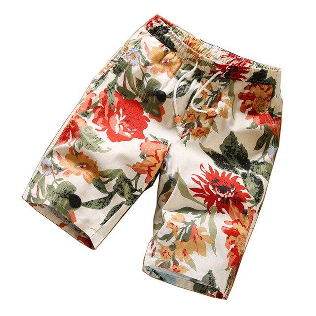 2016 Summer fitness men shorts Pattern Korean youth summer leisure bermuda knee length regular fashion beach floral shorts men