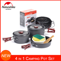 Naturehike Hiking Camping Cookware Mess Kit Backpacking Outdoors Cooking Equipment Picnic Cookset Portable Compact Pot Set