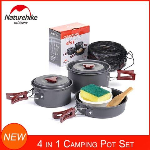 kit bagunca mochila equipamentos de cozinha ao ar livre naturehike caminhadas camping panelas conjunto pote