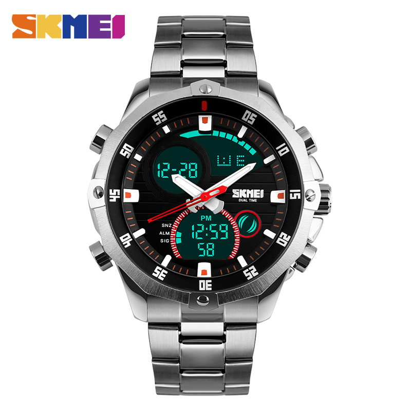 SKMEI Men Quartz Watch Waterproof LED Digital Dual Display Wristwatches Stainless Steel Strap Sports Watches Relogio
