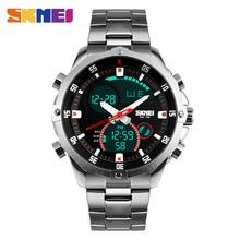 SKMEI Hombres Reloj de Cuarzo Resistente Al Agua LED Digital de Doble Pantalla Relojes de Pulsera Correa de Acero Inoxidable Relojes Deportivos Relogio masculino