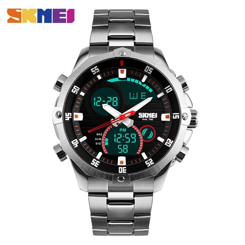 e5d076c6366d Skmei hombres reloj de cuarzo impermeable LED Digital pulsera Relojes  correa de acero inoxidable Relojes deportivos Relogio Masculino