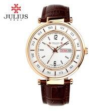 Top Julius Homme Multicolors Moda Horas de Relógio de Pulso dos homens Vestido de Couro De Negócios Retro Aniversário do Menino Presente de Natal 059