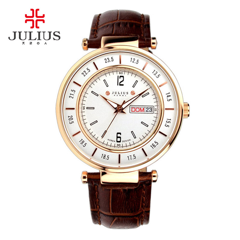 Top Julius Mens Homme Wrist Watch Multicolors Fashion Hours Dress Business Retro Leather Boy Birthday Christmas Gift 059