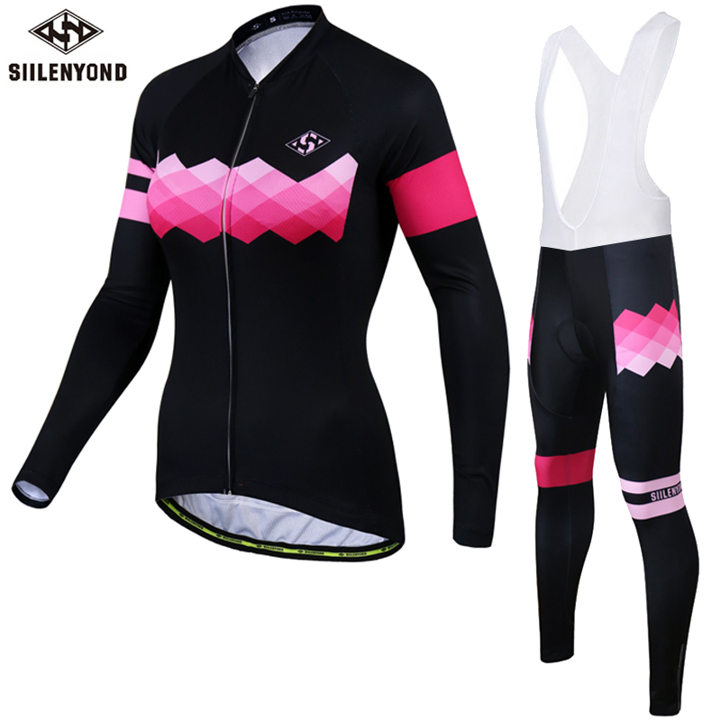 SIILENYOND Winter Cycling Jersey 2017 Women Thermal Fleece Long Sleeves Bicycle Roupa Ciclismo Bike Clothing MTB Sport Jerseys black thermal fleece cycling clothing winter fleece long adequate quality cycling jersey bicycle clothing cc5081