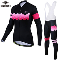 SIILENYOND Winter Cycling Jersey 2017 Women Thermal Fleece Long Sleeves Bicycle Roupa Ciclismo Bike Clothing MTB Sport Jerseys