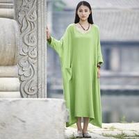 TREND-Setter 2017 Autumn Casual Long Dress Women Cotton and Linen Loose Larger Size