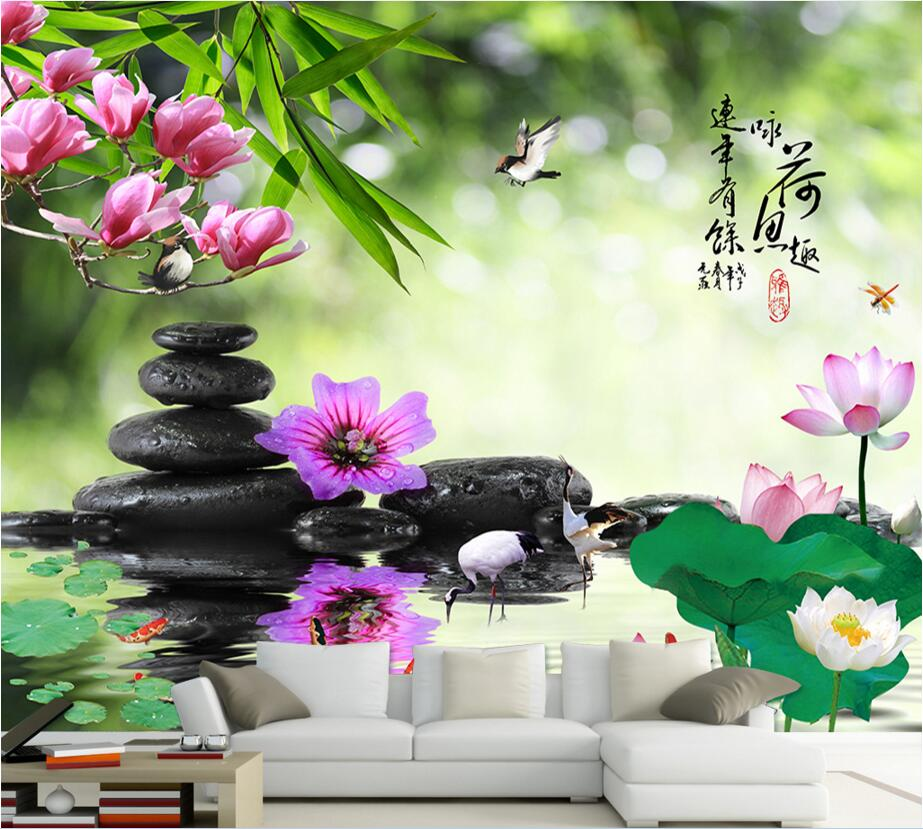 Custom photo 3d room wallpaper picture lotus pond lotus stone crane decoration painting 3d wall murals wallpaper for walls 3 d custom photo 3d wall murals wallpaper mountain waterfalls water decor painting picture wallpapers for walls 3 d living room