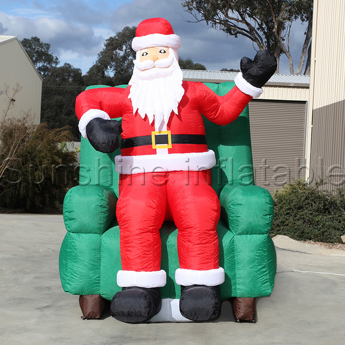 Outdoor Inflatable Christmas Decoration Xmas Santa Sitting In Chair Yard Holiday  Decoration