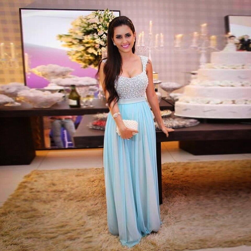 Голубые длинные платья на выпускной