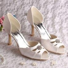 Дизайн одежды Свадебные Пром Обувь Атласная Peep Toe 9 СМ Высокие Каблуки женские Насосы