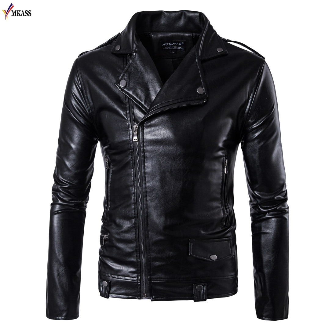New Men's Leather Jackets Black Motorcycle Leather Jacket For Men Faux Leather Coats Turn Down Collar PU Jackets Overcoats 5XL