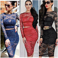 2016 Celebrity Long Sleeve Black Lace Crop Top and Pencil Knee Length Skirt Set 2 Piece Outfit Clothing Set Lady Skirt Suit 6819