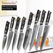SUNNECKO 8PCS Kitchen Knives Set Damascus Chef Utility Santoku Slicing Paring Steak Bread Knife Japanese VG10 Steel G10 Handle