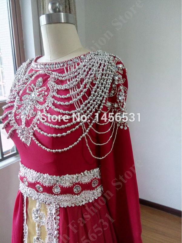 Luxury Caftan Marocain Long Sleeve Burgundy Prom Dresses 2015 Abendkleider  Crystal Real Long Evening Gowns Dubai Kaftan Dresses-in Evening Dresses  from ... 73f196176c47