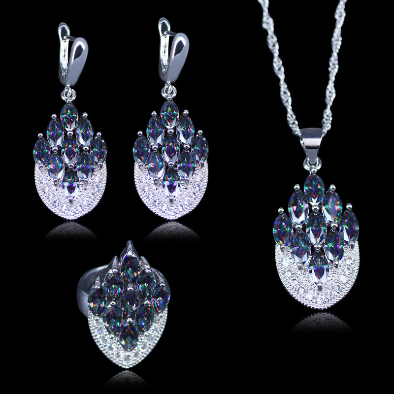 Christmas Gift For Women 925 Stamp Silver Color Women 3PCS Jewelry Gift Rainbow Mystic Crystal Stone Necklace earrings Rings Set