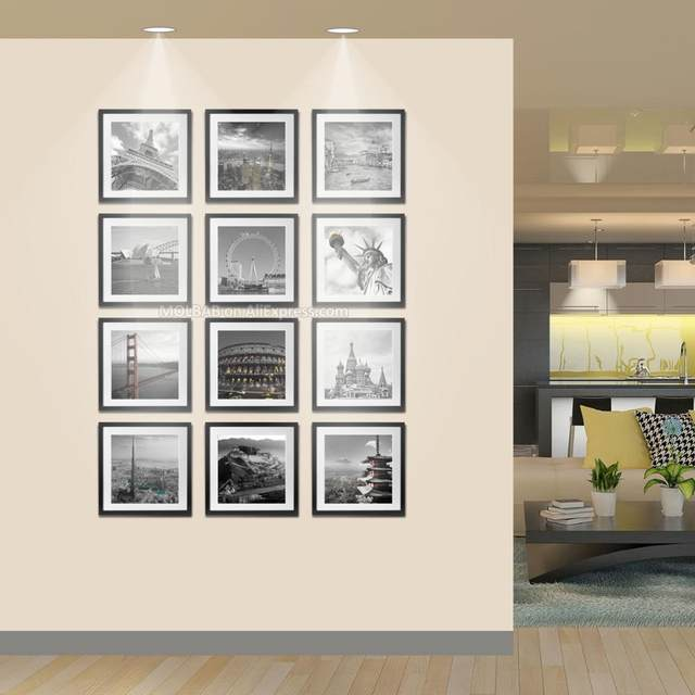 Online Shop MOLBAB Wood Square Photo Frame Wall 12PCS Set Modern ...