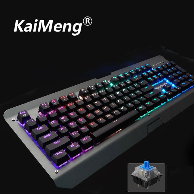 kaiMeng ka002mechanical keyboard gaming mouse gamer keyboard 104key LED backlit mechanical keyboard professional Blue switch