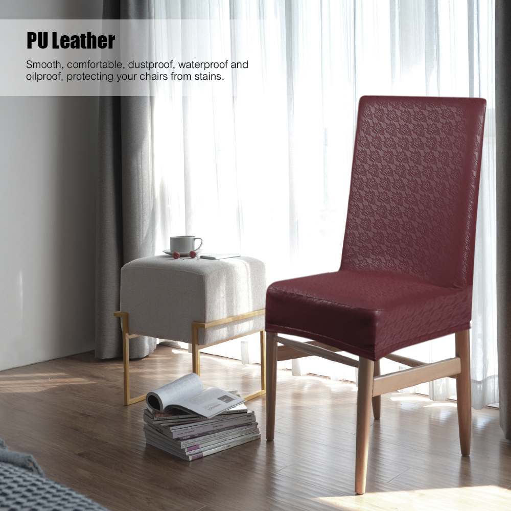 2pcs Chair Covers PU Leather Lace Pattern Dining Chair Seat Covers  Waterproof Dustproof Stretchable Chair Slipcovers