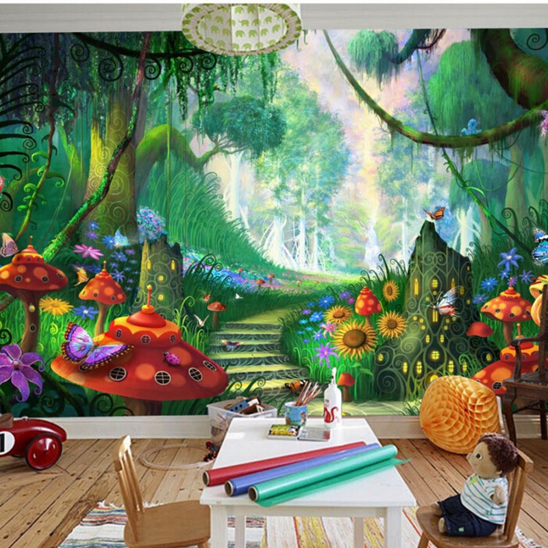 Beibehang Custom Wallpaper Fantasy Forest Trees Grass Mushrooms Stepped Path Children's Room Mural Photo Wallpaper For Walls 3 D