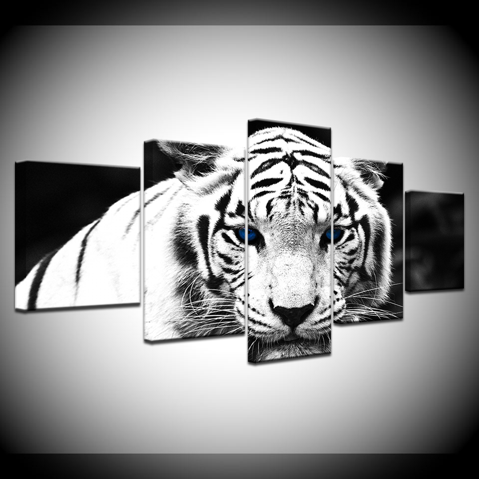 Blue eyed white tiger white tiger eyes 5 panel hd print modern art painting wall posters canvas for home living room decoration in painting calligraphy