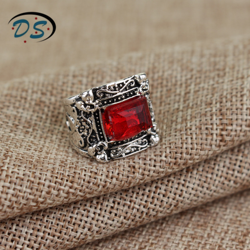The Mortal Instruments:City of Bones Rings Red Square Crystal Ring Men Woman Cosplay Jewelry
