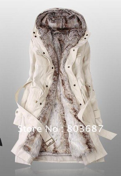 Drop Shipping Faux Fur Lining Women's Beige Fur Coats Winter Warm Long Coat Wholesale