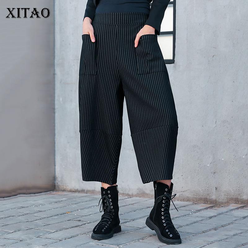 1b9738b98f Corea Elástica Primavera Moda Harem Tobillo Verano Mujeres Picture Pantalones  Mujer La Cintura longitud A De Dll1720 Rayas ...