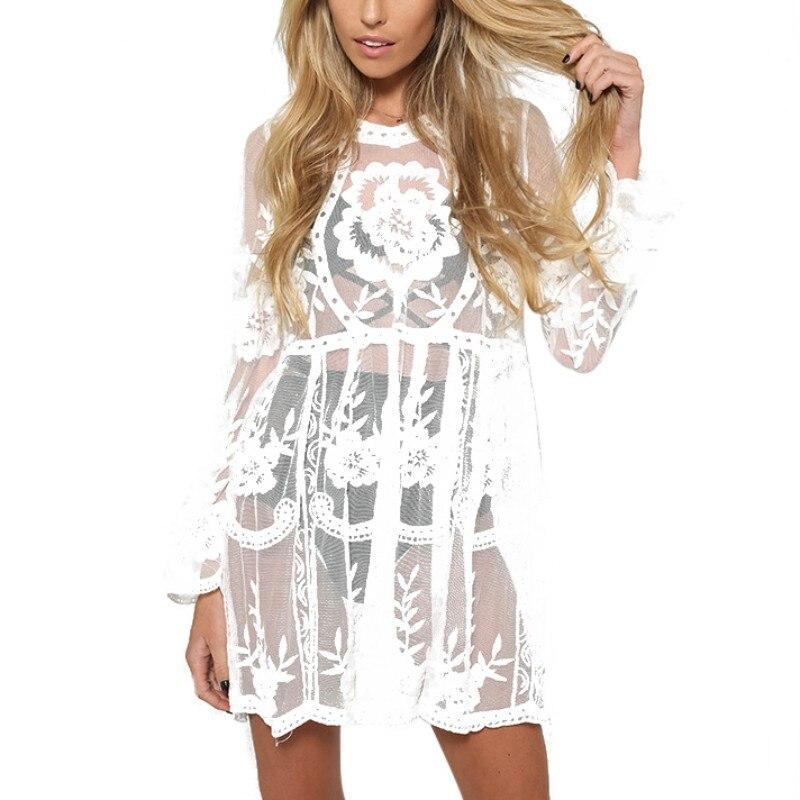 2017 Summer DressWomen Dress Lace Summer Lovely Female Beach Dresses O-neck Solid Black White Women Dress ...
