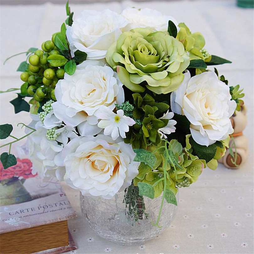 one European Rose Bunch (11 stems/piece) Artificial Roses with Foam ...