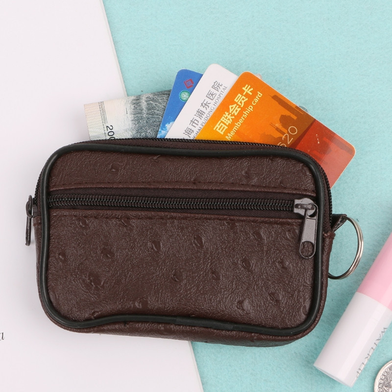 Soft Leather Coin Purse With 2 Zips and Key Ring