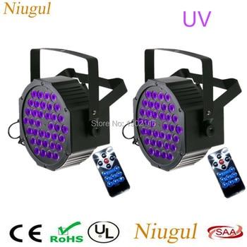 2pcs/lot Remote Control 36 LEDS UV LED Stage Lights ,Ultraviolet LED Flat Par Light ,Purple Effect Disco DJ Home Party Lighting