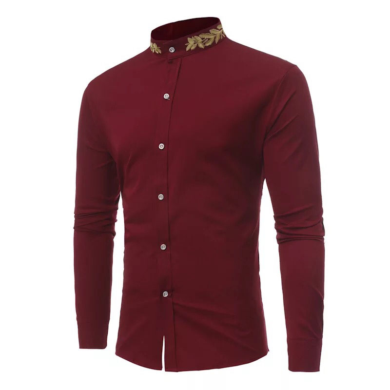 2018 Vintage Embroidery Stand Collar Shirt Men's Slim Fitted Button Up Cotton Top Business Formal Shirt Men Claret White Black